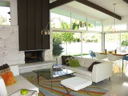 Modern Home Furniture Palm Springs Mid Century Modern Home Fireplace Salon Salle à