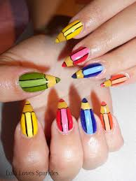 lola loves sparkles cute coloured pencils nail design step by