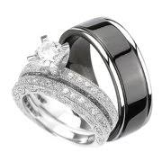 black wedding rings his and hers cubic zirconia wedding rings