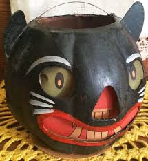 antique halloween flying witch background vintage halloween early german paper mache cat lantern pre 20s