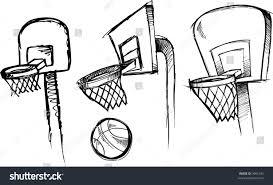 vector illustration sketchy basketball basketball hoop stock