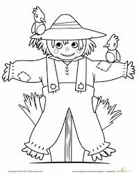 coloring page of fall cute scarecrow coloring page scarecrows worksheets and thanksgiving