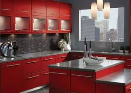 red kitchen cabinets for bright kitchen decoration home design