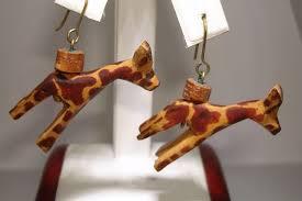 giraffe earrings vintage artisan crafted carved wood giraffe earrings