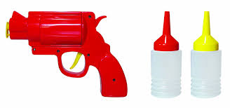 mustard condiment dispenser bottle red condiment gun