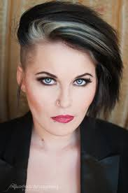 short styles for grey hair streaked dark hair with grey streaks of course without the shaved part and