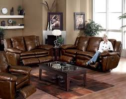 dark brown coffee table and brown leather reclining sectional