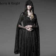Steampunk Halloween Costumes Gothic Long Black Knitting Jacquard Hooded Dress Womens Steampunk