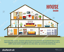 vector house interior house plan crosssectional stock vector