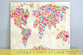 Diy World Map by United Colors Of Love World Map Welcometothemousehouse Com