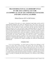 resume summary of qualifications leadership styles transformational leadership style