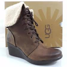 s ugg australia brown zea boots ugg australia zea waterproof lace up wedge ankle boot leather
