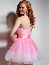 adorable ombre pink tulle strapless beading and bow tie