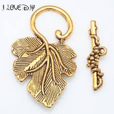 Toggle Clasps For Jewelry Making - wholesale10 sets tibetan silver grape leaf toggle clasps
