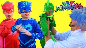 pj masks irl superhero fight romeo baby gekko saved