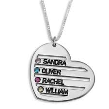 Name Necklaces Silver Mother U0027s Birthstone Heart Four Name Necklace Silver Namefactory
