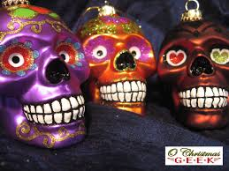 5 handpainted glass dia de los muertos skull ornaments