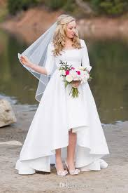 high low wedding dress with sleeves 2017 new simple high low modest wedding dresses sleeves scoop