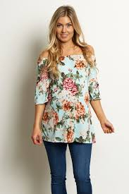 maternity tops mint green floral bell sleeve maternity top