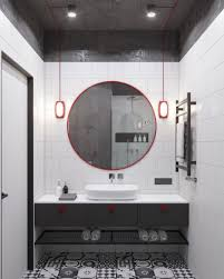Small Grey Bathroom Designs Red Industrial Accents In White And Grey Bathroom Decor Small
