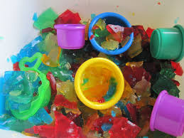 rainbow gelatin sensory tub no time for flash cards
