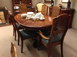strathroy double pedestal dining table chair and cane back chairs