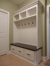 furniture white wooden built in mudroom bench with open shelves