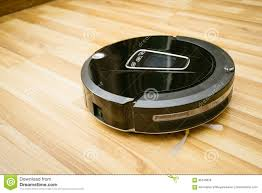 Mops For Laminate Wood Floors Robot Vacuum Cleaner On Laminate Wood Floor Stock Photo Image