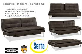 Futon Leather Sofa Bed Brown Leather Sofa Bed Futon Valencia Serta Lounger The
