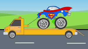 kids monster truck video pickup truck helps superman monster truck video compilation for
