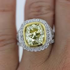 Diamond Cushion Cut Ring 18k Two Tone 4 62ct Cushion Cut Fancy Yellow Diamond Engagement Ring