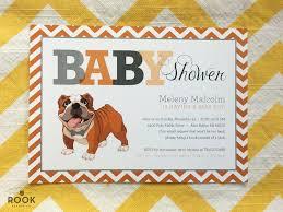 bulldog baby shower invitation with chevron monogram bulldog