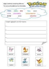 7 free esl pokemon worksheets