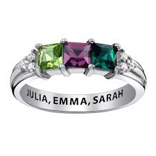 3 mothers ring s princess cut simulated birthstone and cubic zirconia tri