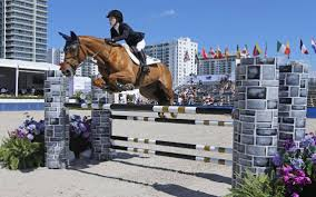 California Flag Horse Celebrity Daughters Ride Show Jumping Horses On Miami Beach