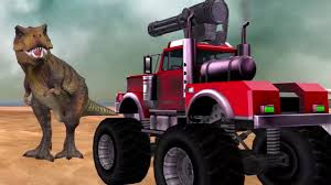 monster truck cartoon videos angry dinosaur compilation monster truck vs dinosaurs funny
