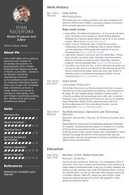Photo Editor Resume Sample by Video Editor Resume Samples Visualcv Resume Samples Database