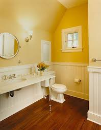 Bathroom Wood Floors - yellow bathroom w white beadboard u0026
