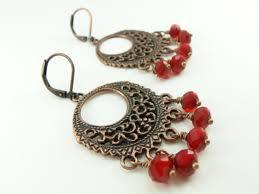 Red Chandelier Earrings Blood Red Chandelier Earrings Copper Jewelry Antiqued Copper