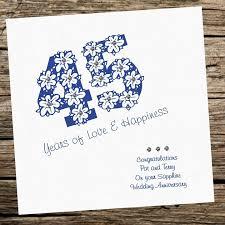 45th wedding anniversary handmade card wedding anniversary 45th sapphire personalised