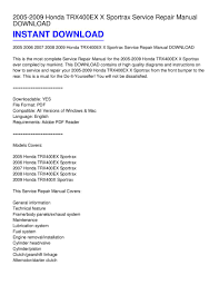 2005 2009 honda trx400ex x sportrax service repair manual download