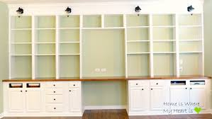 Built In Desk Diy Remodelaholic Build A Wall To Wall Built In Desk And Bookcase