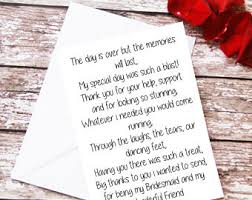 matron of honor poem bridesmaid thank you card wedding thank you note of