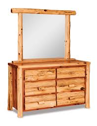 Pine Secretary Desk by Amish Log Furniture Pine Six Drawer Dresser