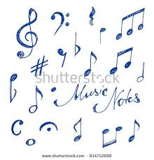 hand drawn music notes set sketch stock vector 614712890