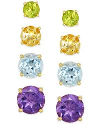 ear ring images multi stud earring set in 18k gold sterling silver 5 9