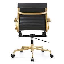 Black Leather Office Chairs Amazon Com Meelano M348 Vegan Leather Office Chair Gold Black