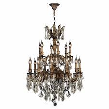 Crystal And Bronze Chandelier Gt Versailles 18 Light Antique Bronze Finish And Golden Teak