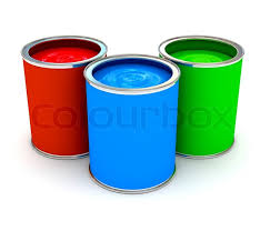 rgb color paint can over white 3d rendered image stock photo