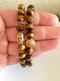 tiger eye jewelry its properties eternal knot buddha bracelet set 2 bracelets tiger eye on etsy